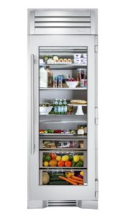 "30"" Glass Door Refrigerator Column in Stainless"
