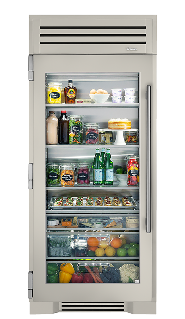 "36"" Glass Door Refrigerator Column in Antique White"