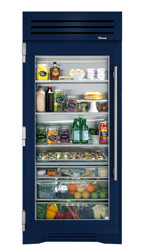 "36"" Glass Door Refrigerator Column in Cobalt"