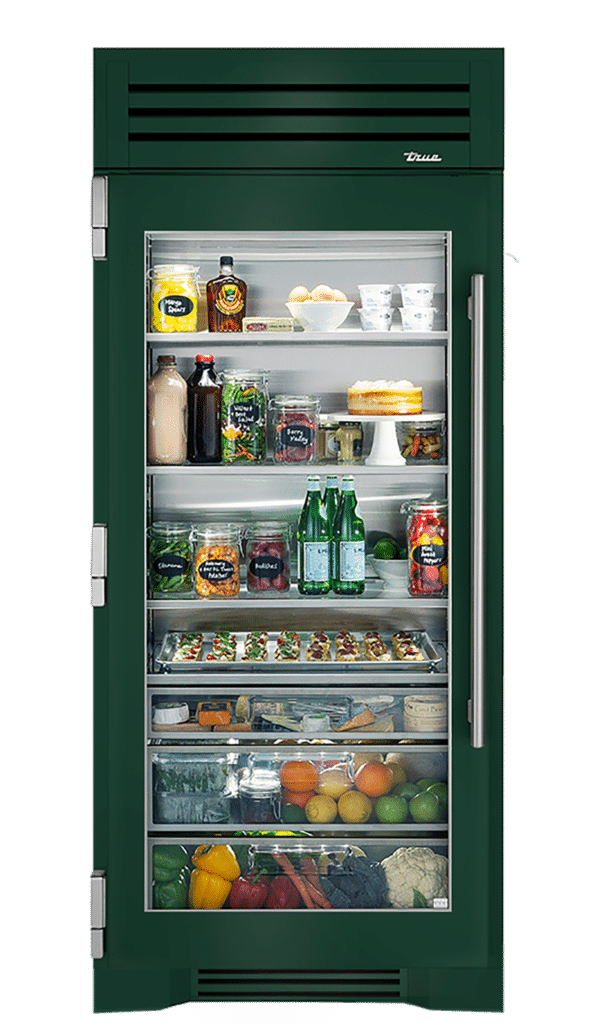 "36"" Glass Door Refrigerator Column in Emerald"