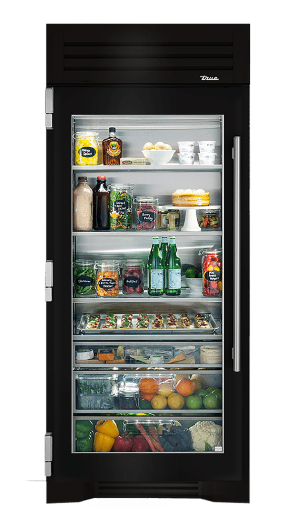 "36"" Glass Door Refrigerator Column in Gloss Black"