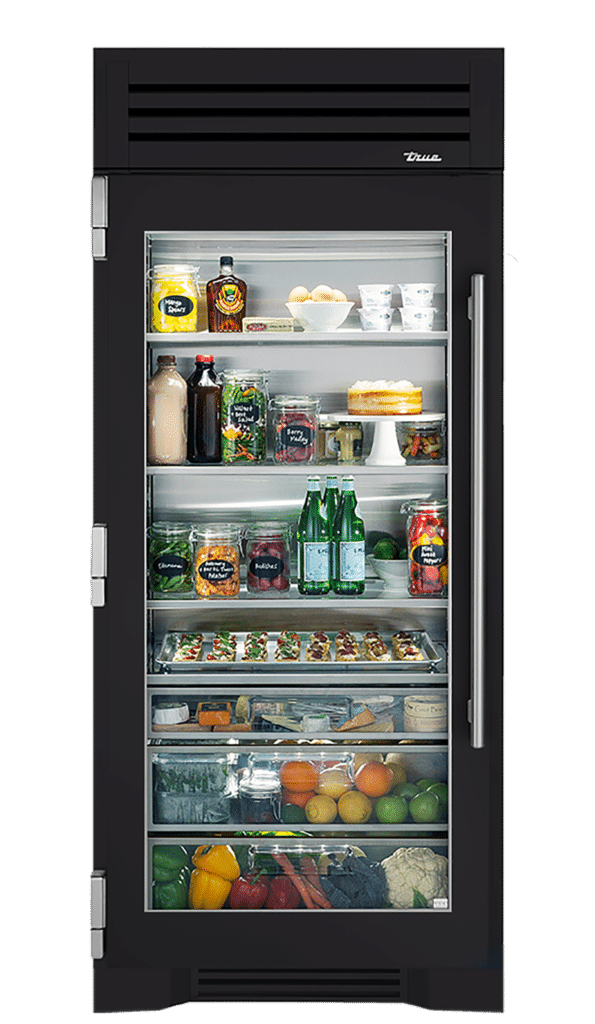 "36"" Glass Door Refrigerator Column in Matte Black"