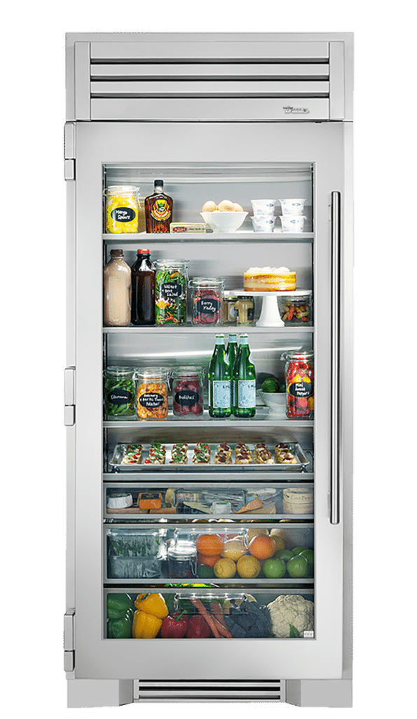 "36"" Glass Door Refrigerator Column in Stainless"
