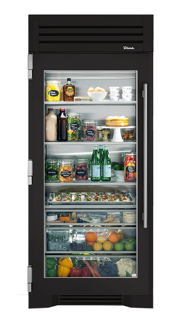 "36"" Glass Door Refrigerator Column in Ultra Matte Black"