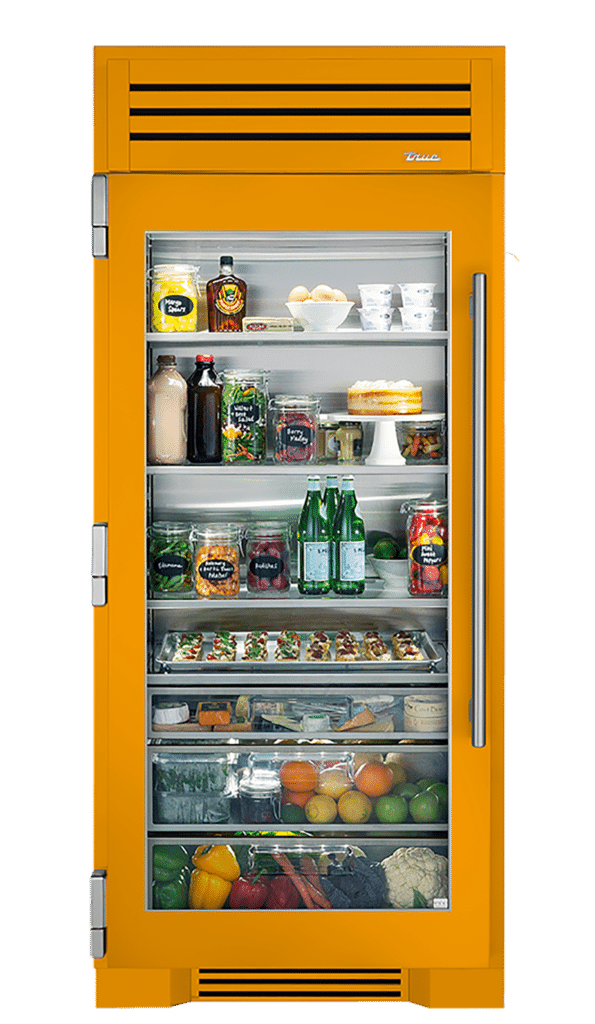 "36"" Glass Door Refrigerator Column in Saffron"