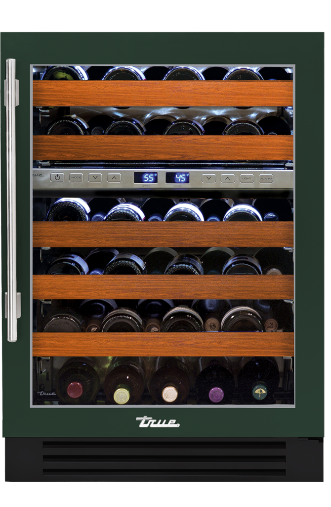 "24"" dual zone undercounter wine cabinet in emerald"