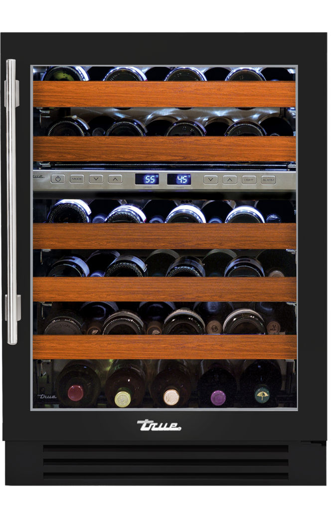 "24"" dual zone undercounter wine cabinet in gloss black"