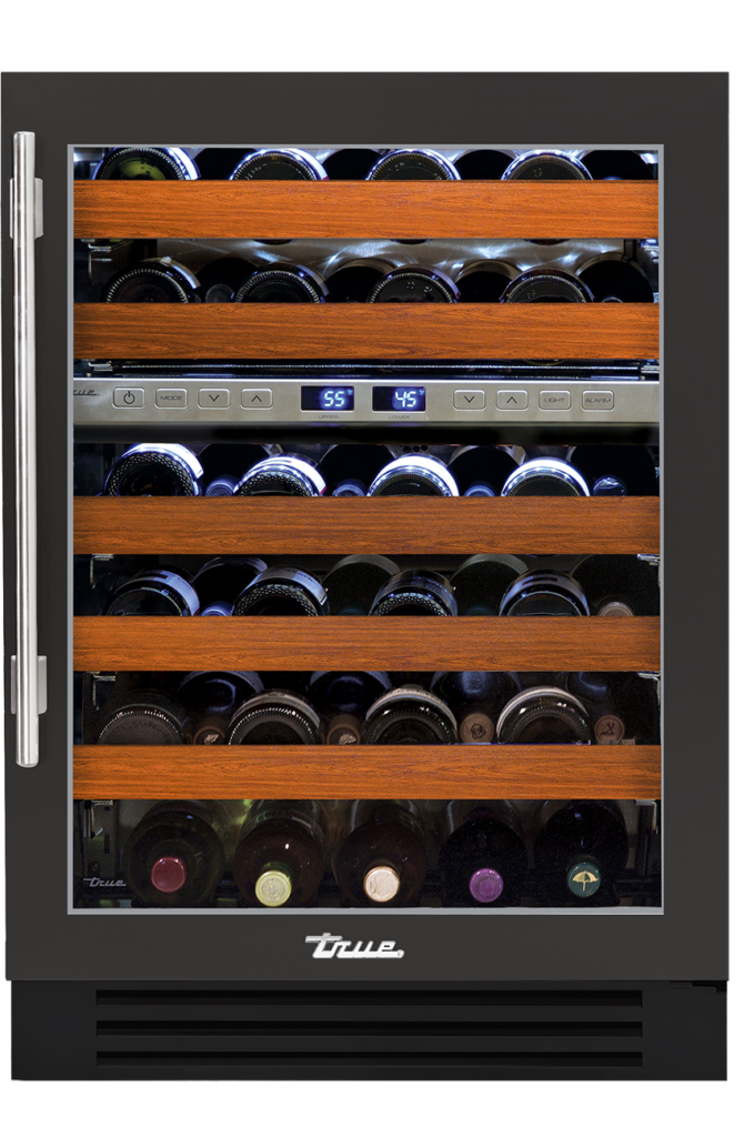 "24"" dual zone undercounter wine cabinet in ultra matte black"