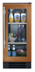 "15"" undercounter refrigerator with overlay and glass"