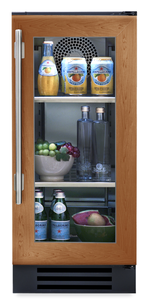 """15"""" undercounter refrigerator with overlay and glass"""