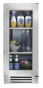 "15"" undercounter refrigerator in stainless and glass"