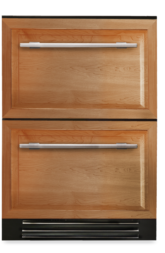 Undercounter refrigerator drawer with overlay panel