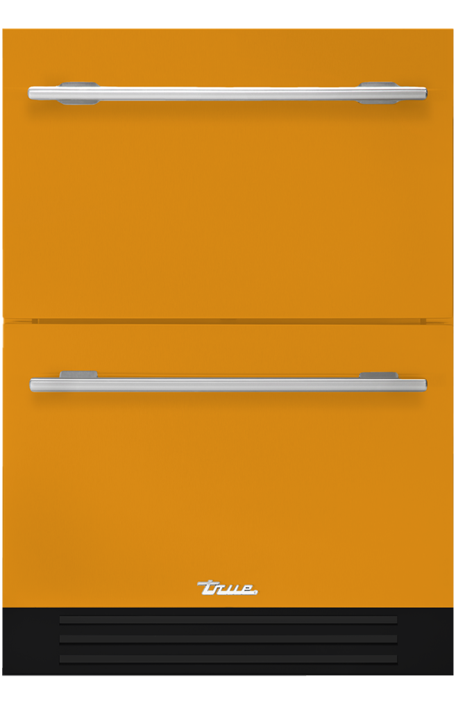 Undercounter refrigerator drawer in saffron