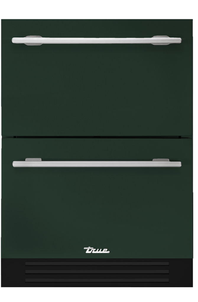Undercounter refrigerator drawer in emerald