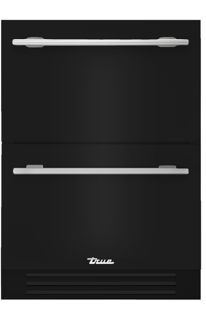 Undercounter refrigerator drawer in gloss black