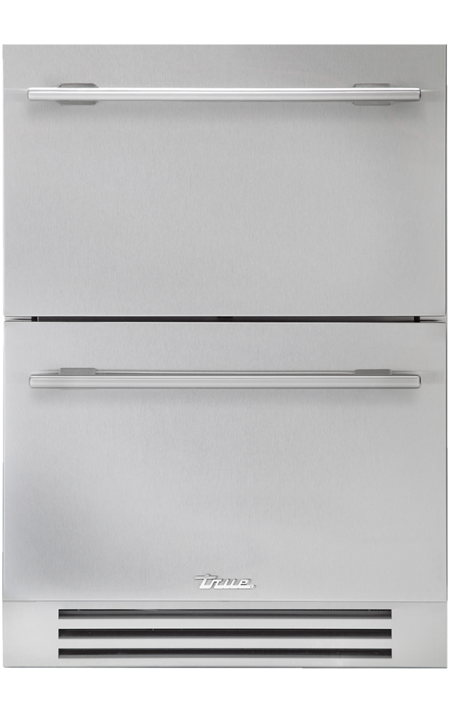 Undercounter refrigerator drawer in stainless