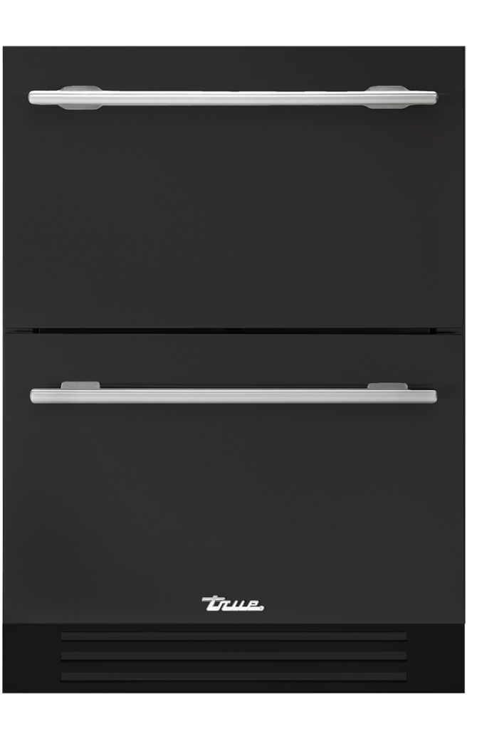 Undercounter refrigerator drawer in ultra matte black