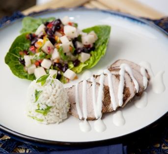 Pork tenderloin with jicama salsa