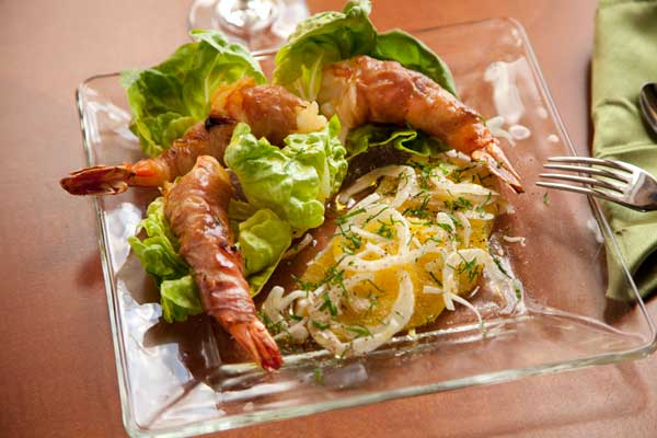 Proscuitto wrapped shrimp