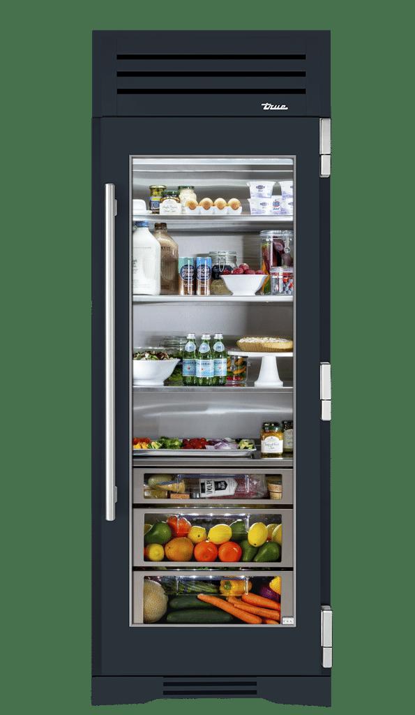 "30"" Glass Door Refrigerator Column Right Hinge in Juniper"
